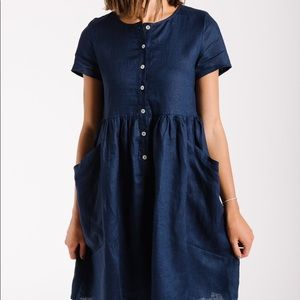 9f5910745ca piper   scoot Dresses - THE WARWICK LINEN BUTTON DRESS IN NAVY